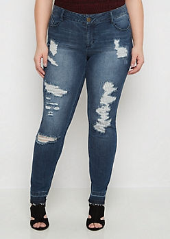 Plus Flex Dark Ripped & Repaired Skinny Jean