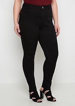 Plus Flex Black Moto High Waist Skinny Jean