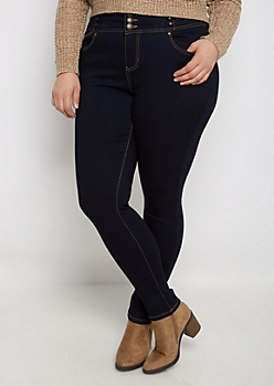 Plus Dark Blue Flex High Waist Jegging