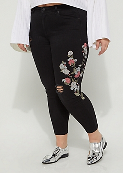 Plus Blossoming Embroidered High Rise Jegging in Regular