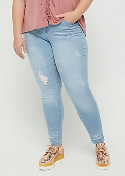 Plus Vintage Distressed Soft Skinny Jean