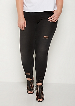 Plus Black Distressed Jegging