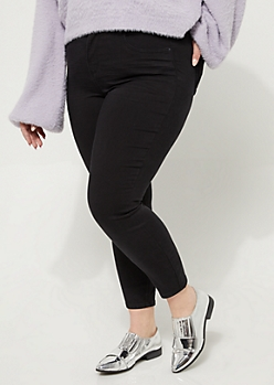Plus Black Soft Twill High Rise Jeggings