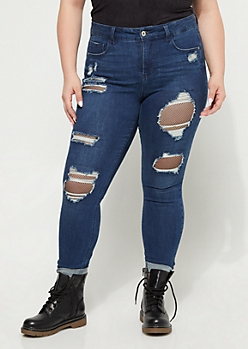 Plus Destroyed Fishnet Skinny Jean