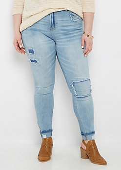 Plus Flex Patched High Waist Skinny Jean