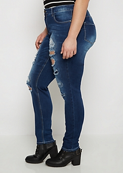 Plus Better Butt Destroyed & Repaired Skinny Jean