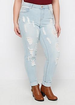Plus Light Blue Destroyed Skinny Jean