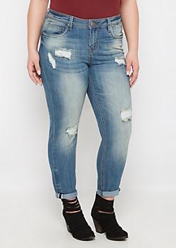 Plus Medium Ripped & Cuffed Skinny Jean