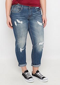 Plus Dark Destroyed Cuffed Skinny Jean