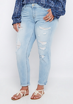 Plus Vintage Ripped Cuffed Skinny Jean