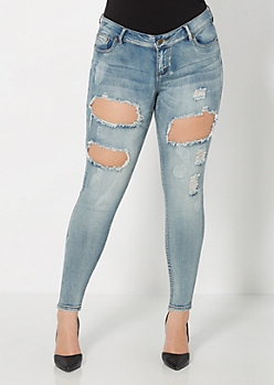 Plus Superluxe Faded Ripped Skinny Jean
