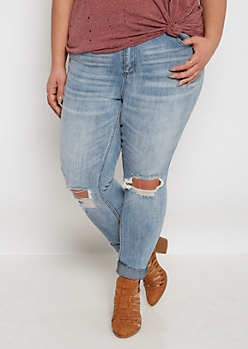 Plus Destroyed High Waist Skinny Jean