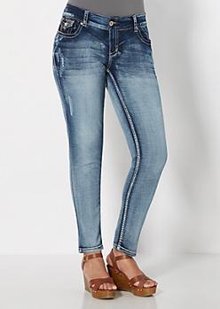 Plus Vintage Cat Scratched Skinny Jean