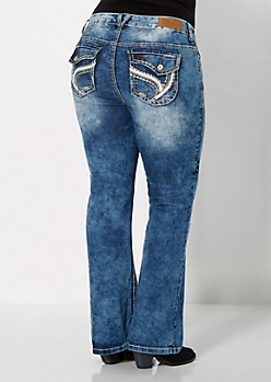 Plus Leather Embellished Boot Jean in Curvy
