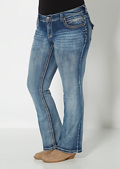 Plus Frayed & Crackled Boot Jean