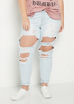 Plus Light Blue Vintage Blown Out Jegging
