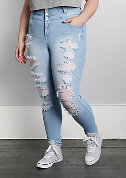 Plus Light Blue Destroyed Jegging