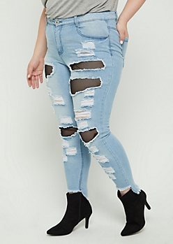 Plus Mesh Destroyed High Rise Ankle Jegging