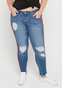 Plus Destroyed Red Striped Skinny Jean