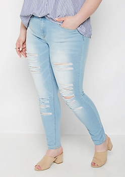 Plus Shredded Mid Rise Skinny Jean