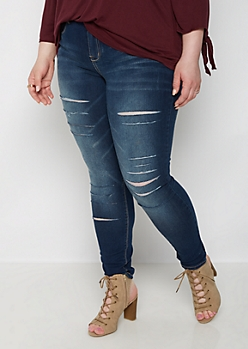 Plus Slashed Dark Wash Skinny Jean
