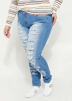 Plus Destroyed Light Wash Skinny Jean