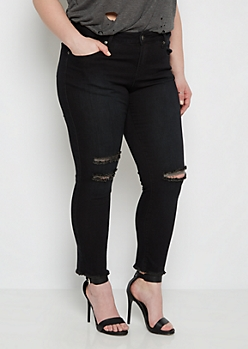 Plus Black Distressed Frayed Cuff Jegging