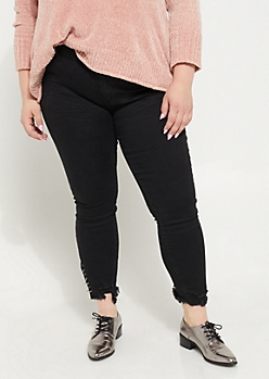 Plus Black Mid Rise Ring Frayed Ankle Jegging