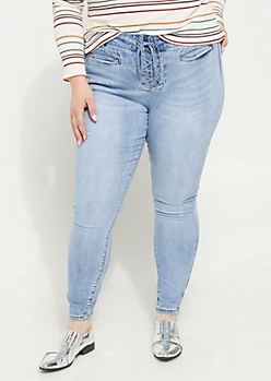 Plus Light Blue High Rise Lace Up Ankle Jeggings