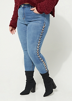 Plus Vintage Laced High Rise Ankle Jegging
