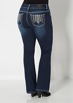 Plus Dark Wash Destroyed Bootcut Jeans