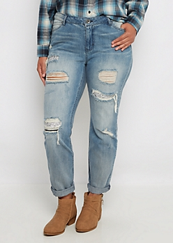 Plus Silver Stone Destroyed Skinny Jean