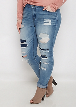 Plus Ripped & Patched Vintage Jegging