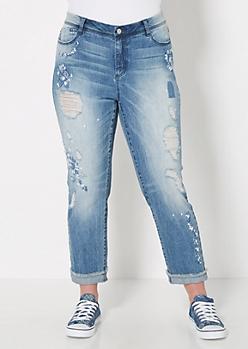 Plus Floral Stitched Distressed Skinny Jean