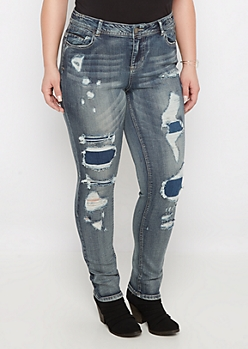 Plus Flex Patched Hole Jegging