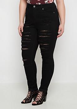 Plus Flex Black Destroyed High Waist Skinny Jean