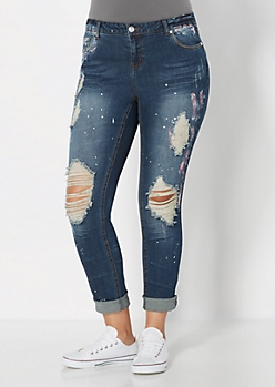 Plus Splattered & Destroyed Rolled Cuff Skinny Jean