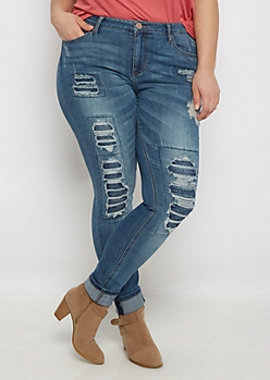 Plus Flex Ripped & Repaired Jegging