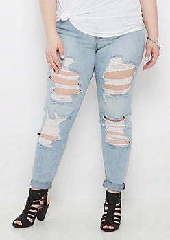 Plus Blown Out Mid Rise Jean