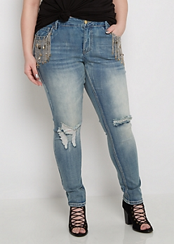 Plus Flex Chain Fringe Pocket Skinny Jean