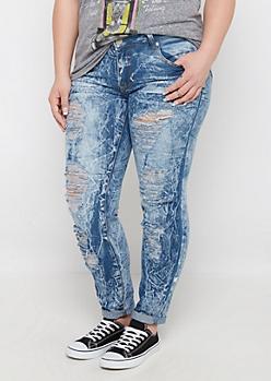 Plus Crackled Wash Skinny Jean