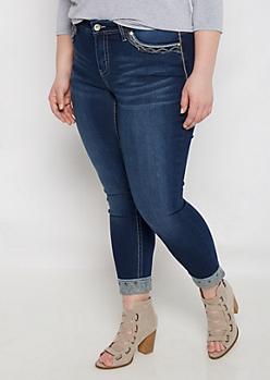 Plus Pyramid Stud Cuff Cropped Skinny Jean
