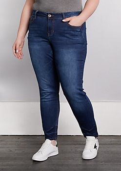 Plus Dark Blue Washed Skinny Jean in Curvy