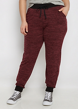 Plus Burgundy Space Dye Hacci Jogger