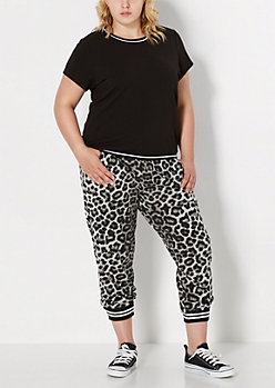 Plus Leopard Explosion Athletic Jogger