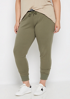Plus Olive Ribbed Cuff Jogger