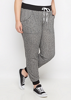 Plus Gray Marled Knit Jogger