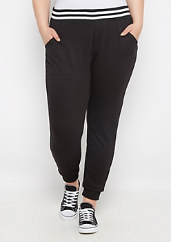Plus Black Soft Knit Jogger