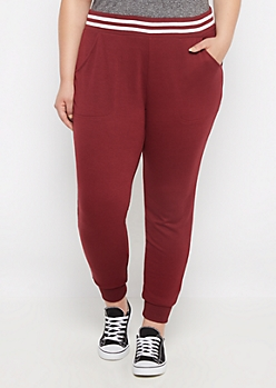 Plus Burgundy Soft Knit Jogger