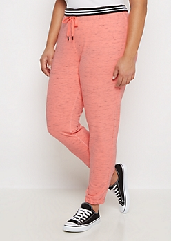 Plus Neon Orange Marled Slim Jogger